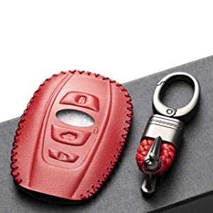 WRX BRZ XV Crosstrek Vitodeco Leather Keyless Entry Remote Control Smart Key Case Cover with a Key Chain for Subaru Forester Impreza Outback 4 Buttons, Black