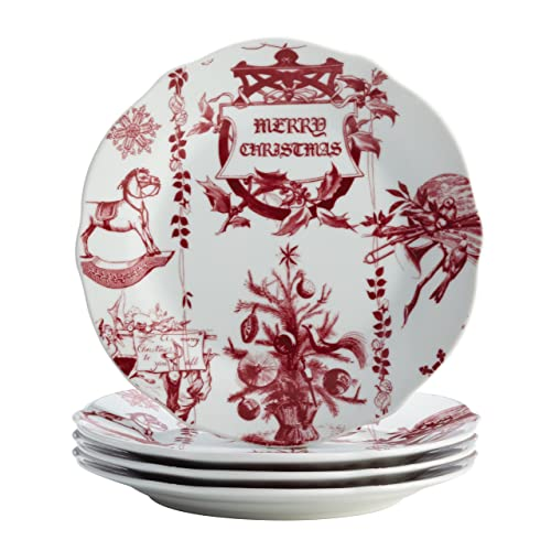 BonJour Dinnerware Yuletide Garland 4-Piece Porcelain Stoneware Fluted Salad Plate Set
