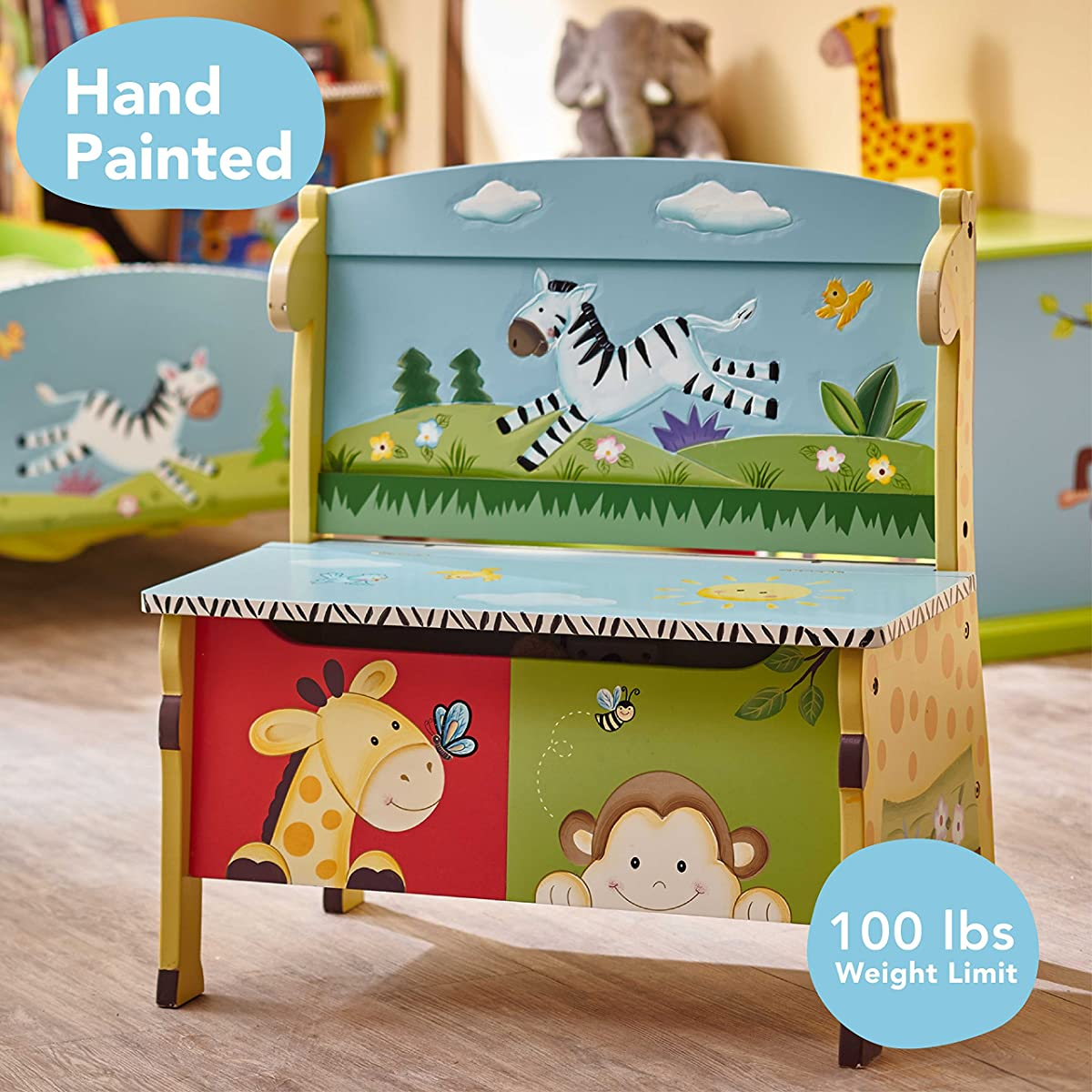 Sunny Safari Animals Thematic Kids Storage Bench