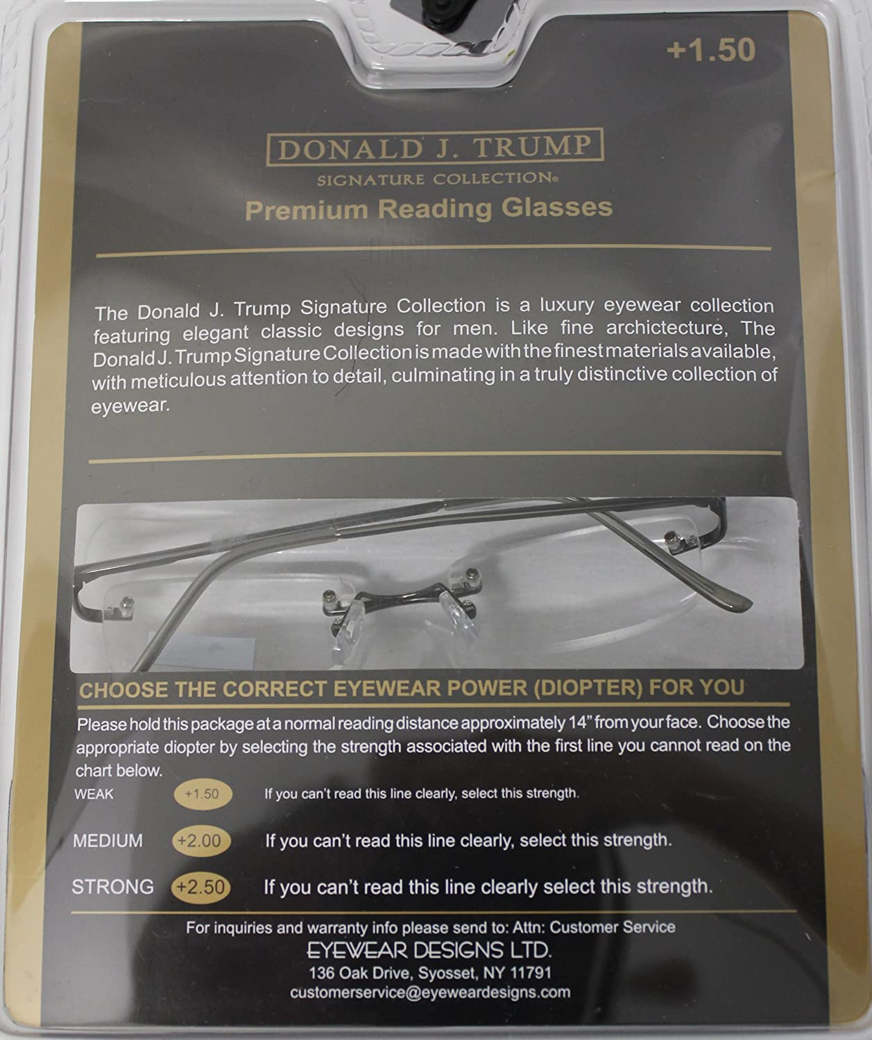 Donald Trump Readers Two Pack Rectangle Rimless Gunmetal, Metal Power +1.50