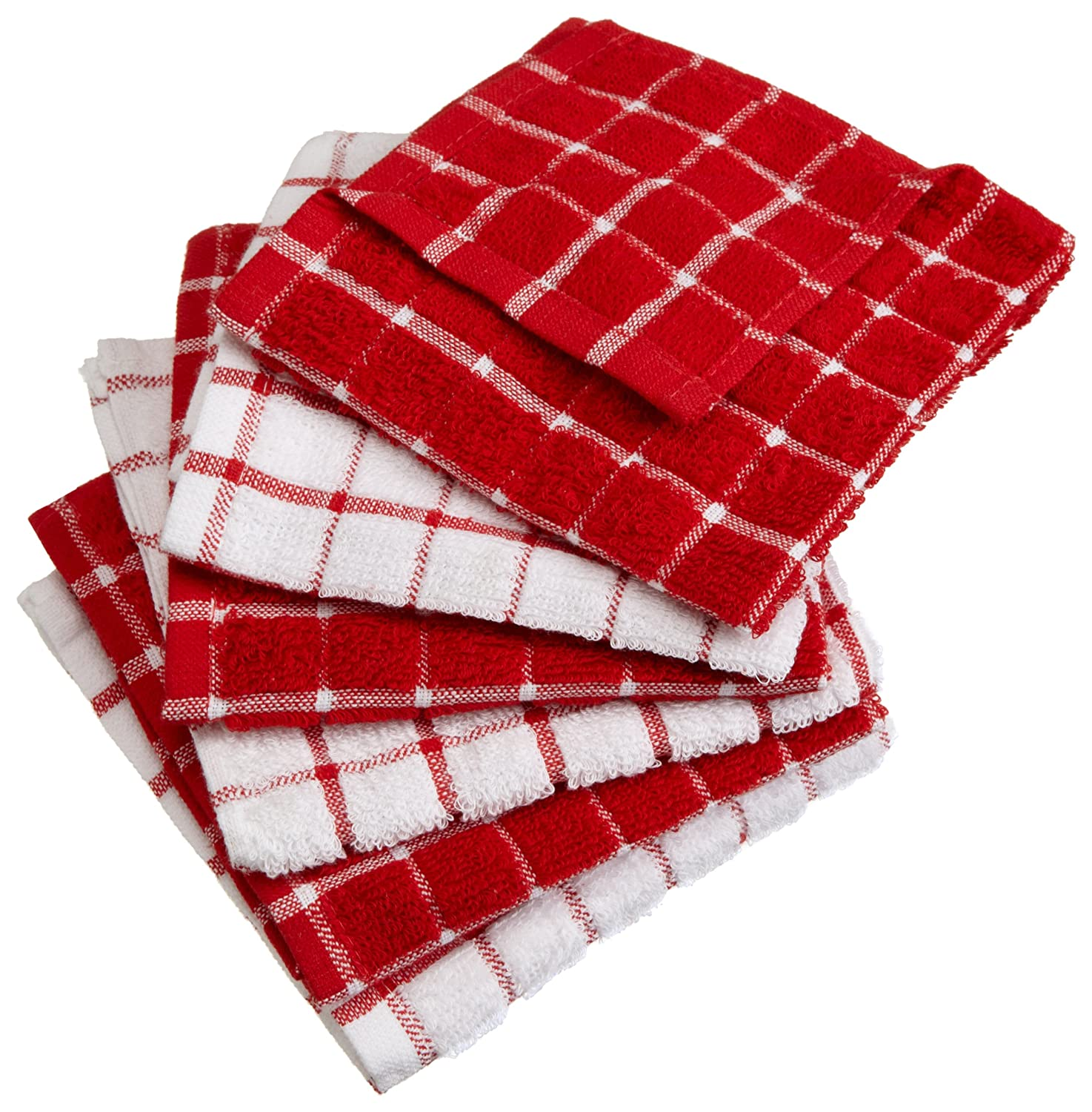 "DII 100% Cotton, Machine Washable, Basic Everyday Kitchen Dish Cloth, Windowpane Design, 12 x 12"" Set of 6- Red"