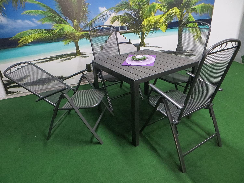 5-teilige Luxus Streckmetall Aluminium Polywood Gartenmöbelgruppe von RRR, Klappsessel und Gartentisch 90x90 anthrazit, P28