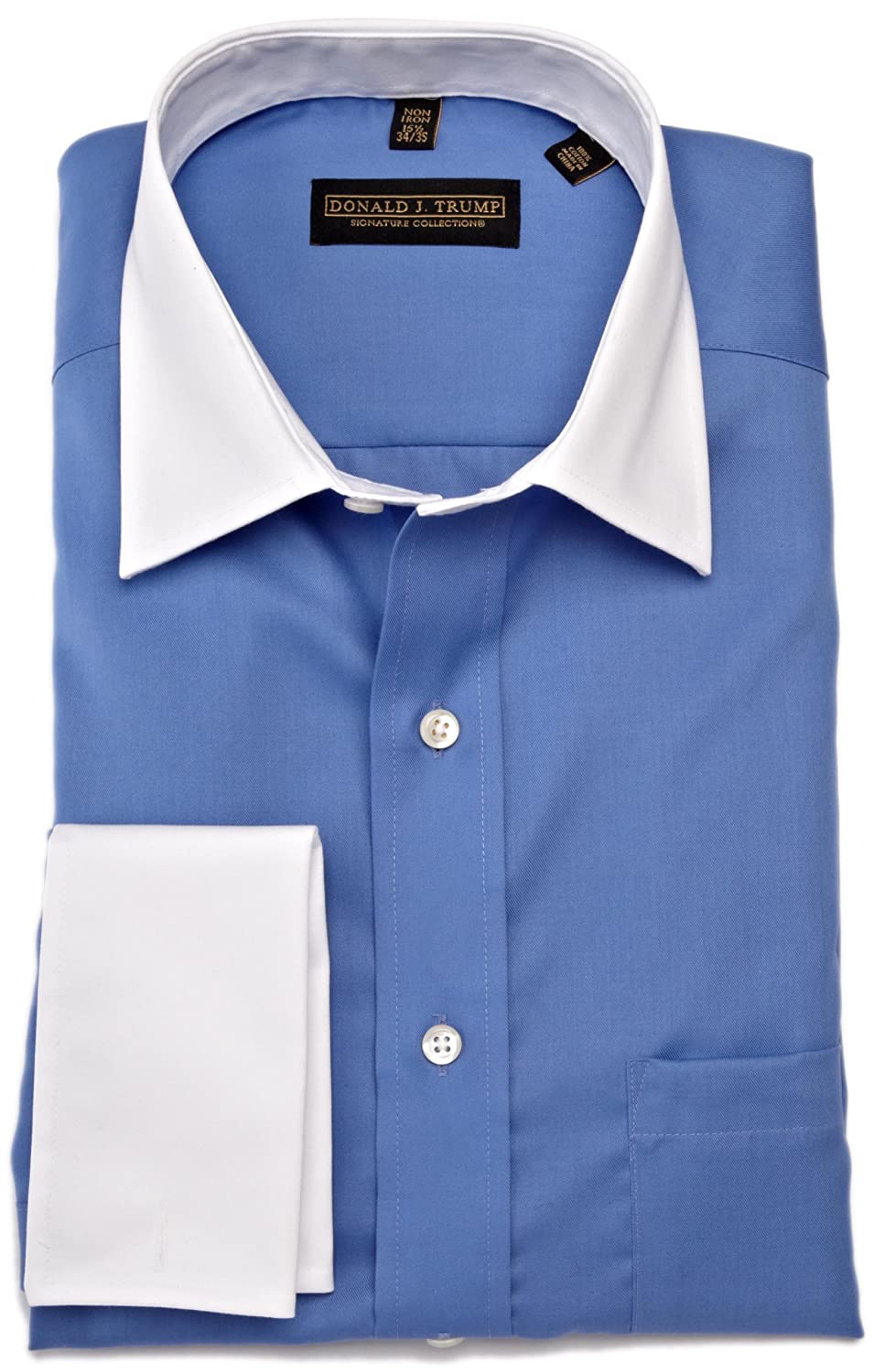Donald Trump Men's Spread Collar Twill Solid Woven Shirt (Blue)