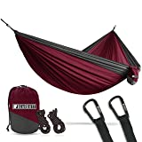 Bear Butt Lightweight Double Camping Parachute Hammock-Large, Portable Two-Person Hammock for Hiking & Backpacking - 16 Colors Available (Maroon/Charcoal)