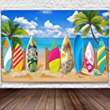 Surfboard Party Decorations Beach Backdrop Party Beach Surfboard Backdrop Party Banner Tropical Hawaiian Party Backdrop Banner for Beach Weddings Party Decorations, 72.8 x 43.3 Inch
