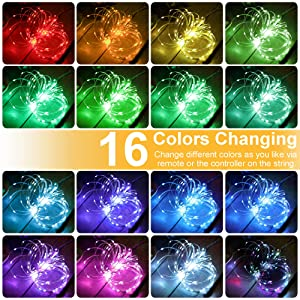 GDEALER 100 Led 16 Colors String Lights Multi Color Change String Lights Remote Fairy Lights with Timer 33ft Firefly Twinkle Lights for Bedroom Party Wedding Halloween Christmas Decor (Color: 16 Colors)