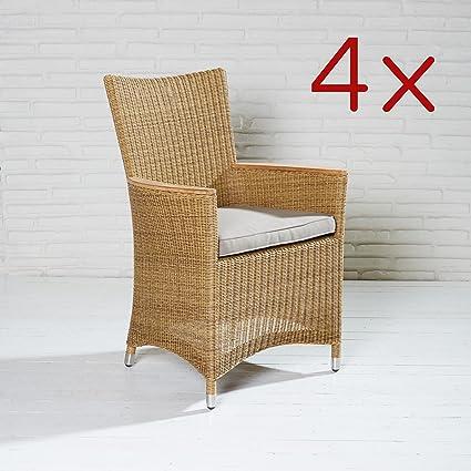4x chaises fauteuil Jardin teck Fauteuil naturel de jardin Chaise Chaises