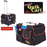 dbest products Quik Cart Pockets Bundle Caddy Organizer Teacher Tote Rolling Crate Mobile Tool Storage Fabric Cover Bag, Black (Color: Black)