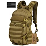 ArcEnCiel 25L Tactical Motorcycle Cycling Backpack Military Molle Pack Helmet Holder with Patch - Rain Cover Included (Coyote Brown) (Color: Coyote Brown)