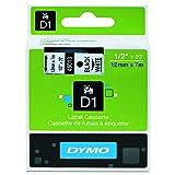 DYMO Standard D1 45013 Labeling Tape (Black Print on White Tape, 1/2'' W x 23' L, 1 Cartridge)