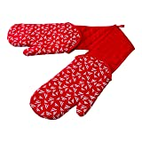 Kuhn Rikon double Oven Mitt+ with Removable Arm Protectors, Red