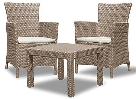 Allibert 219990 Rosario Balcony - Set di mobili da giardino, composto da 2 poltrone e 1 tavolino in plastica, simil-vimini, colore: cappuccino