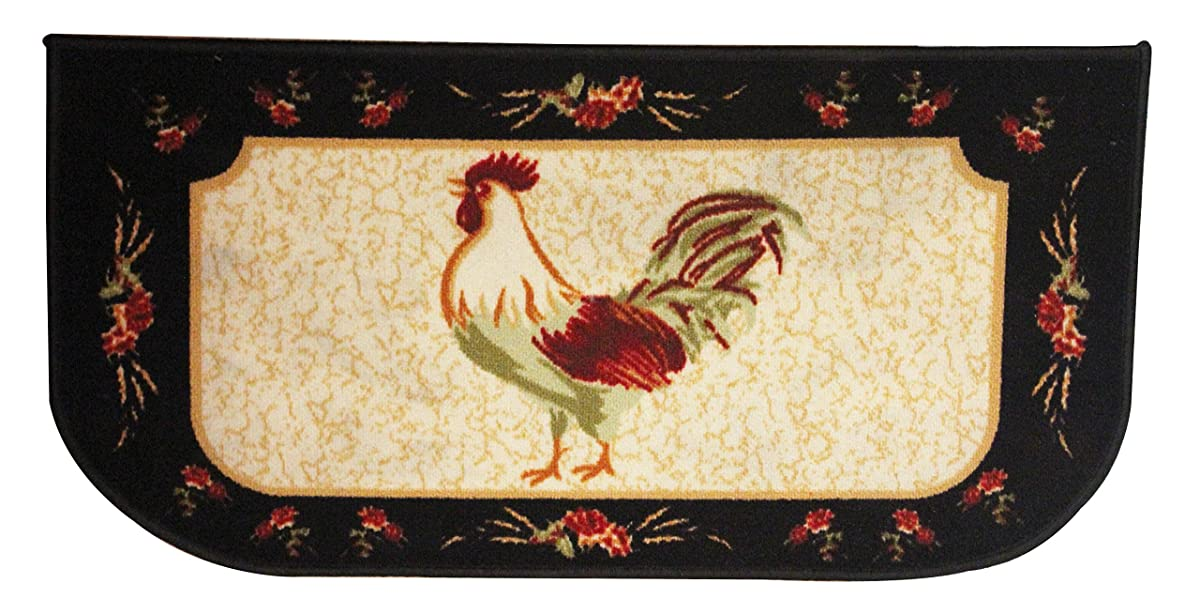 """Kashi Home Rooster 3pc Kitchen Rug Set, (2) Slice 18""""x30"""" Rugs, (1) 20""""x40"""" Mat, Non-Slid Latex Back"""