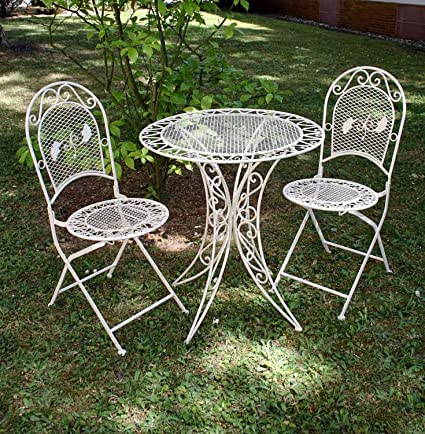 Vintage garden furniture set - table & 2 chairs - wrought iron – cream white