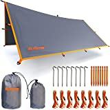 Rain Fly Tent Tarp - Waterproof Lightweight Survival Gear Shelter for Camping, Backpacking, and Outdoor Living - 9.8' x 9.3' Tarp Tent by WildVenture (Color: Grey)