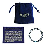 Believe London Hematite Magnetic Therapy Bracelet with Jewelry Bag & Meaning Card   Strong Elastic   Precious Natural Stones Healing