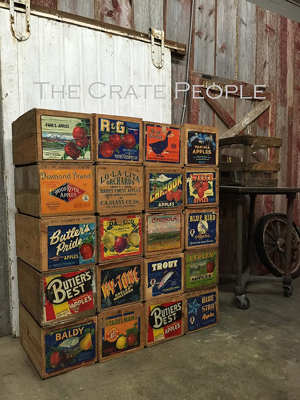 Vintage Wood Apple Crates circa 1940's - 50's - Colorful Old Labels HUNDREDS in stock	 3