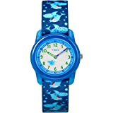 Timex Boys TW7C13500 Time Machines Blue Sharks Elastic Fabric Strap Watch (Color: Blue Sharks)