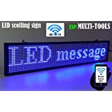 LED display BLUE color with WiFi connection , LED scrolling message sign, BRIGHT and in new light auminum housing (Color: blue)