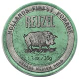 REUZEL Grease Hold Hair Styling Pomade Piglet Wax/Gel, Medium, Green, 1.3 oz, 35g