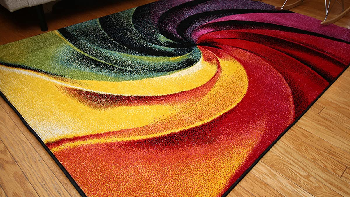 Feraghan/Radiance Collection Art Contemporary Collection Modern Swirl Wool Area Rug, 8 x 10, Yellow/Blue/Orange/Purple