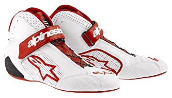 ALPINESTARS 2715012-23 Chaussures pour Auto , Blanc/Rouge, Taille : 8.5