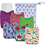 Wegreeco Washable Reusable Baby Cloth Pocket Diapers 6 Pack + 6 Bamboo Inserts(with1wet Bag,Girl Prints) (Color: Girl Prints + 1 wet bag, Tamaño: S,M,L)