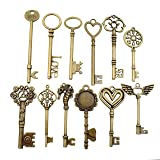 12pcs Antique Bronze Huge Skeleton Key Craft Supplies Charms Pendants for Crafting, Jewelry Findings Making Accessory For DIY Necklace Bracelet M29 (huge key collection) (Color: huge key collection)