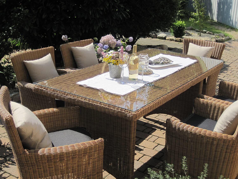 Sitzgruppe Garten Garnitur Tisch und 6 Sessel / Stühle Rattan Polyrattan Geflecht Gartenmöbel natur-beige-braun Lyon6 jetzt bestellen