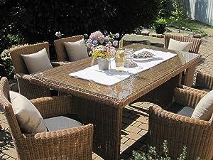 Sitzgruppe Garten Garnitur Tisch und 6 Sessel / Stühle Rattan Polyrattan Geflecht Gartenmöbel naturbeigebraun Lyon6Kundenbewertung und Beschreibung