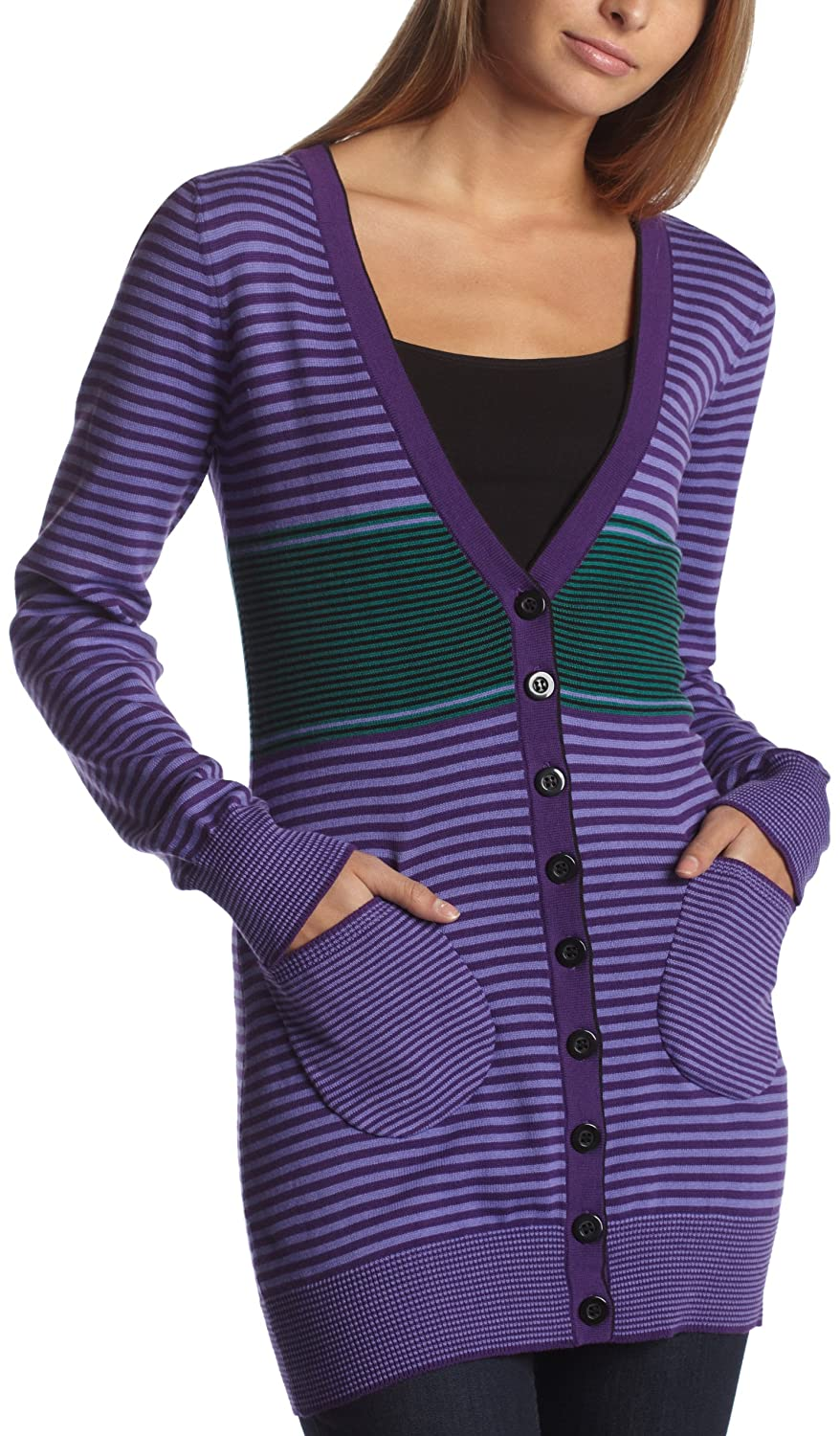 Kensie Girl Junior's Striped Long- Sleeve Cardigan