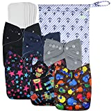 Wegreeco Washable Reusable Baby Cloth Pocket Diapers 6 Pack + 6 Bamboo Inserts (with 1 Wet Bag,Boy Prints) (Color: Boy Prints + 1 wet bag, Tamaño: One Size)