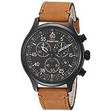 RELOJ TIMEX PARA HOMBRES TW4B12300 – Expedición, Cronógrafo de campo, resistente Reloj de correa de cuero, color canela/negro