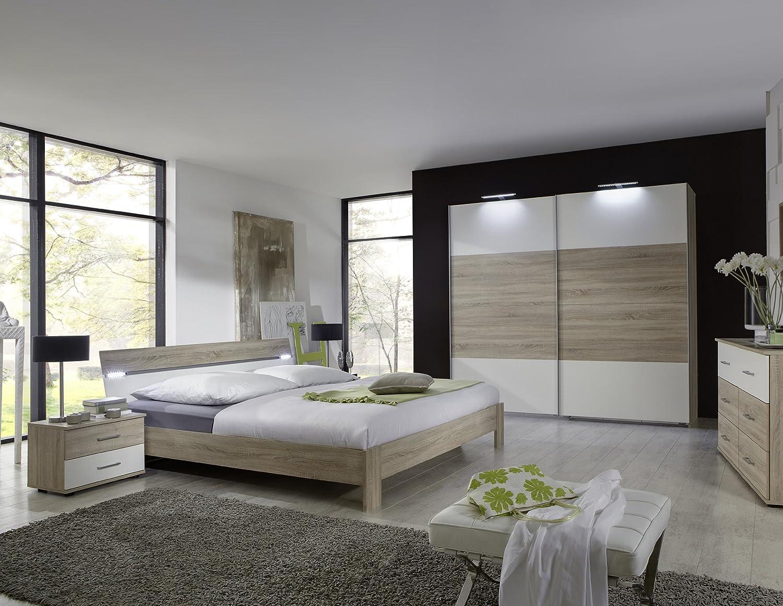 Schlafzimmer mit Bett 180 x 200 cm Eiche sägerau/ alpinweiss günstig bestellen
