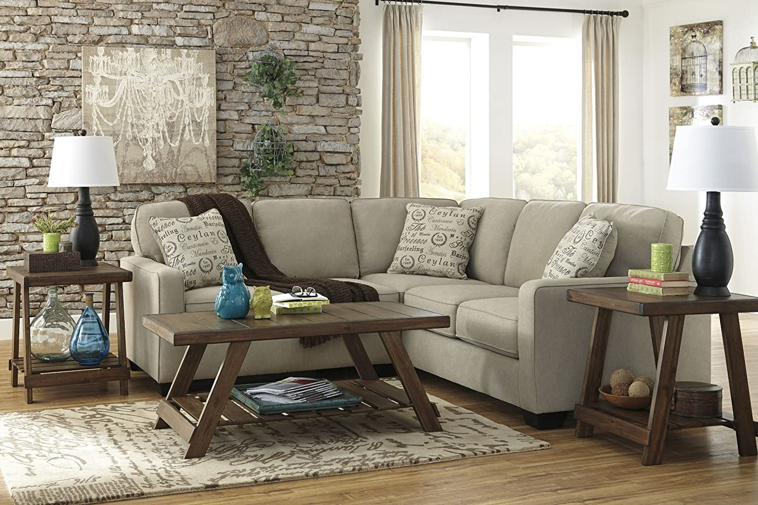 Ashley Alenya 16600-55-67 2PC Sectional Sofa with Left Arm Facing Loveseat Right Arm Facing Sofa Pillows with Print