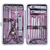 Manicure Set Nail Clippers 18 Piece Stainless Steel Nail Kit, Professional Grooming Kit, Pedicure Tools with Travel Case(Pink) (Color: Pink)