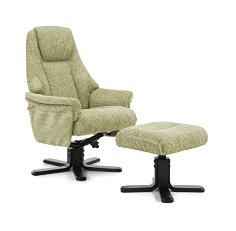 Mysen Polyester Upholstered Swivel and Recliner Chair With Black Legs