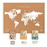 World Map Cork Board kit: Push Pin World Map with Pins World Flags, Food Stickers, for Travelers (Color: White, Tamaño: Framed XL (23.6 x 35.4 inches))