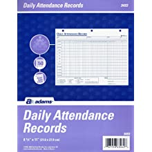 Adams Daily Attendance Record, 8.5 x 11 Inches, 3-Hole Punched, 50-Pack, White, (9493)
