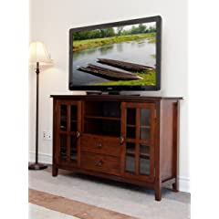 Simpli Home AXCHOL005 Artisan Collection 54-Inch Width by 36-Inch Height Tv Stand Medium Auburn Brown 1-Pack