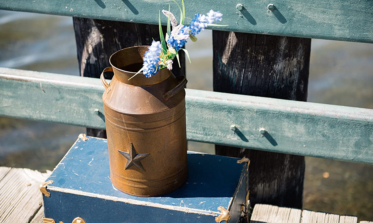 Craft Outlet Milk Can Container with Star Attached, 10.5-Inch, Rust 2