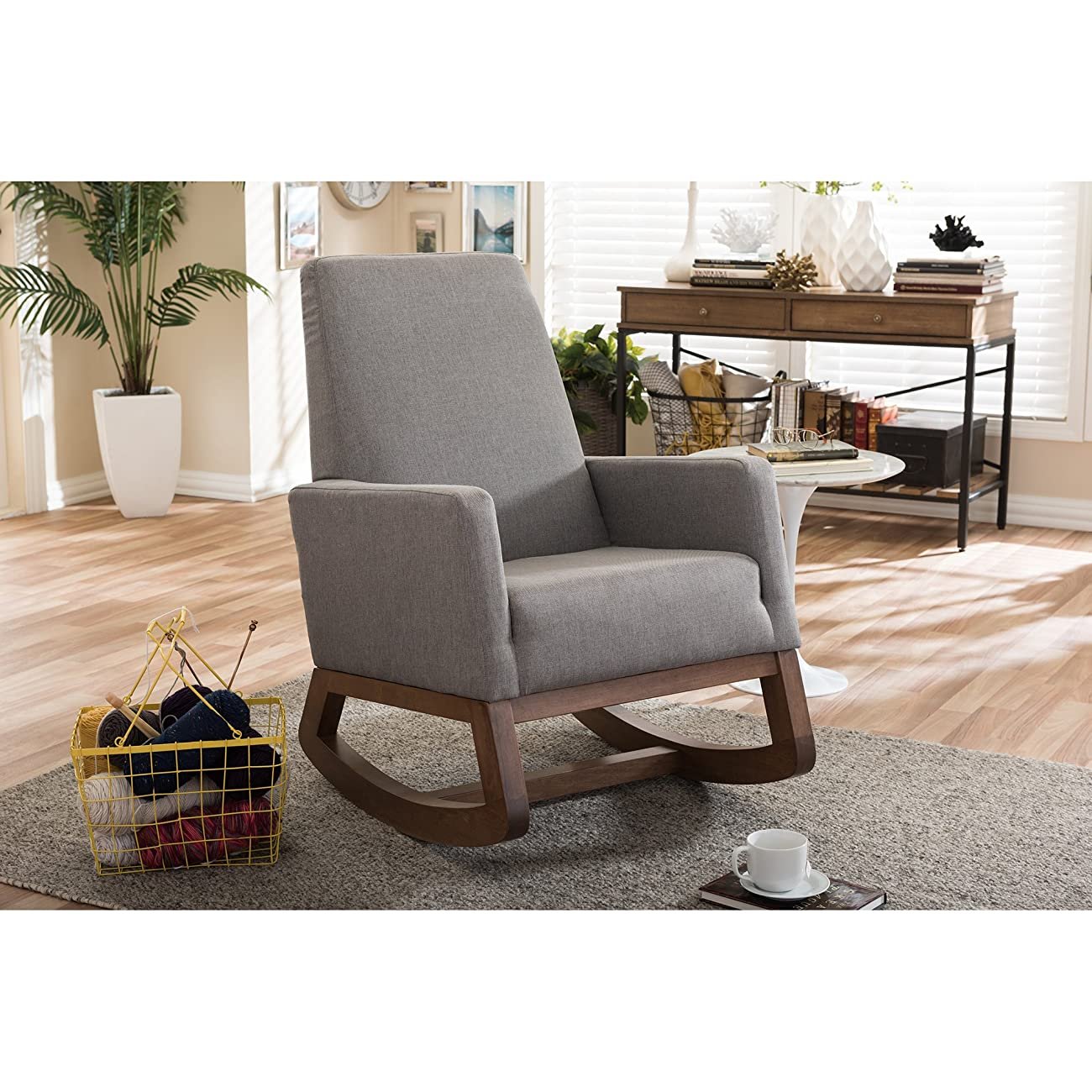 Baxton Studio Yashiya Mid Century Retro Modern Fabric Upholstered Rocking Chair, Grey 5