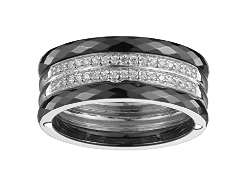 Ceranity Women's Ring Sterling Silver 925 3.6 g Ceramic / White Zirconia - 1-12 / N - 0038 white