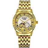 BINLUN 18K Gold Men's Wrist Watch Tourbillon Mechanical Automatic Watches (Color: Gold, Tamaño: Men's)