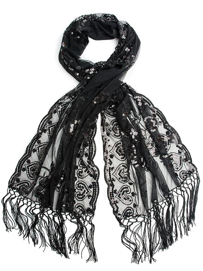 Madison Shawl Long Fringe Sequin Evening Wrap  AT vintagedancer.com