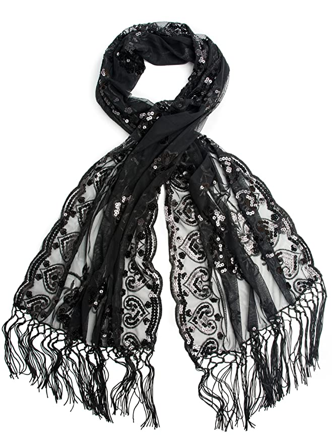 1920s Style Wraps Madison Shawl Long Fringe Sequin Evening Wrap $16.95 AT vintagedancer.com