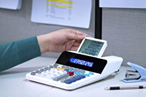 Sharp EL-1901 Paperless Printing Calculator with Check and Correct, 12-Digit LCD Primary Display, Functions the Same as a Printing Calculator/Adding Machine with Scrolling LCD Display Instead of Paper (Color: White, Tamaño: 12 Digit)
