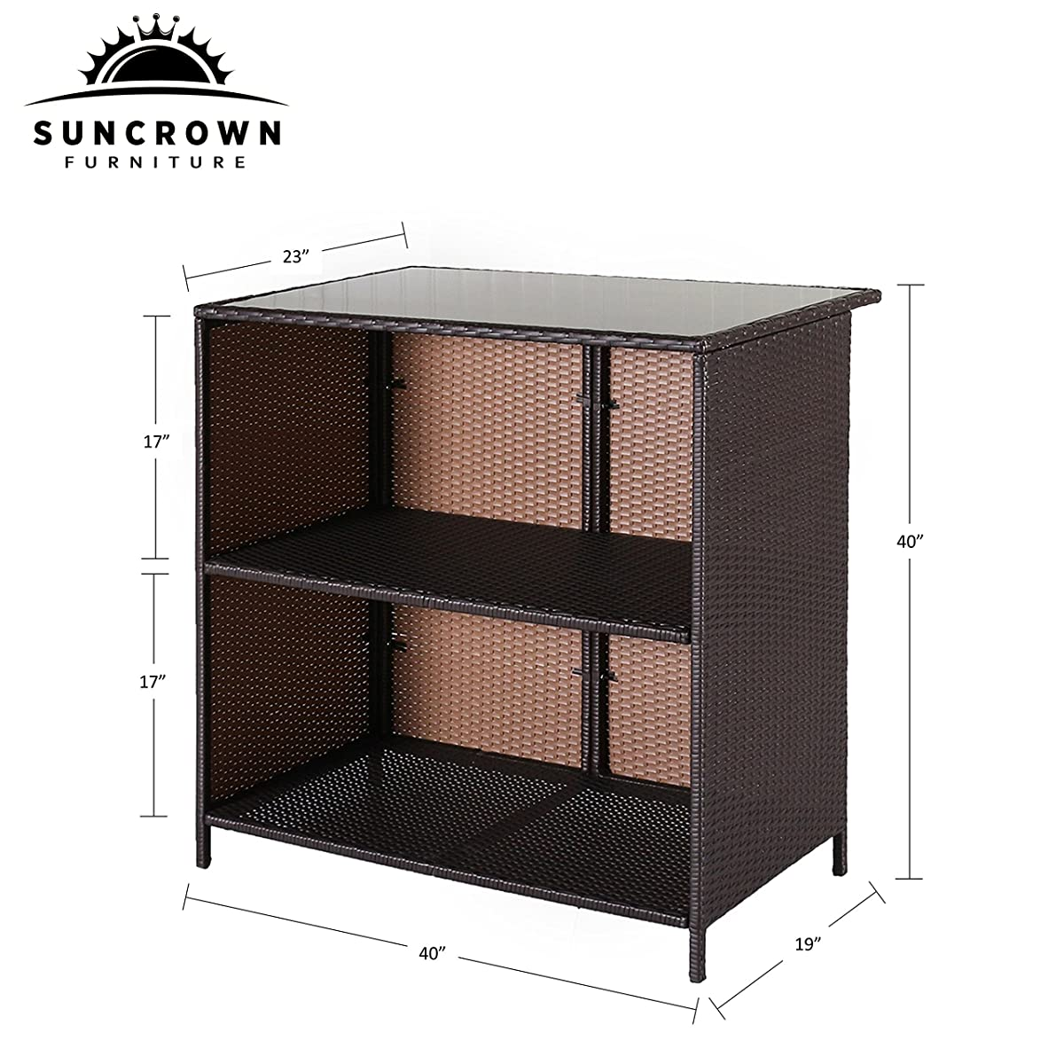 Suncrown Outdoor 3-Piece Brown Wicker Bar Set: Glass Bar and Two Stools with Cushions - Perfect for Patios, Backyards, Porches, Gardens or Poolside