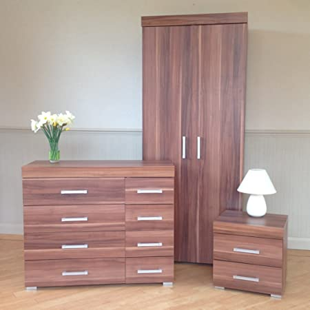 Bedroom Furniture Set *Walnut Effect* - Wardrobe, 4+4 Drawer Chest & 2 Draw Bedside Cabinet