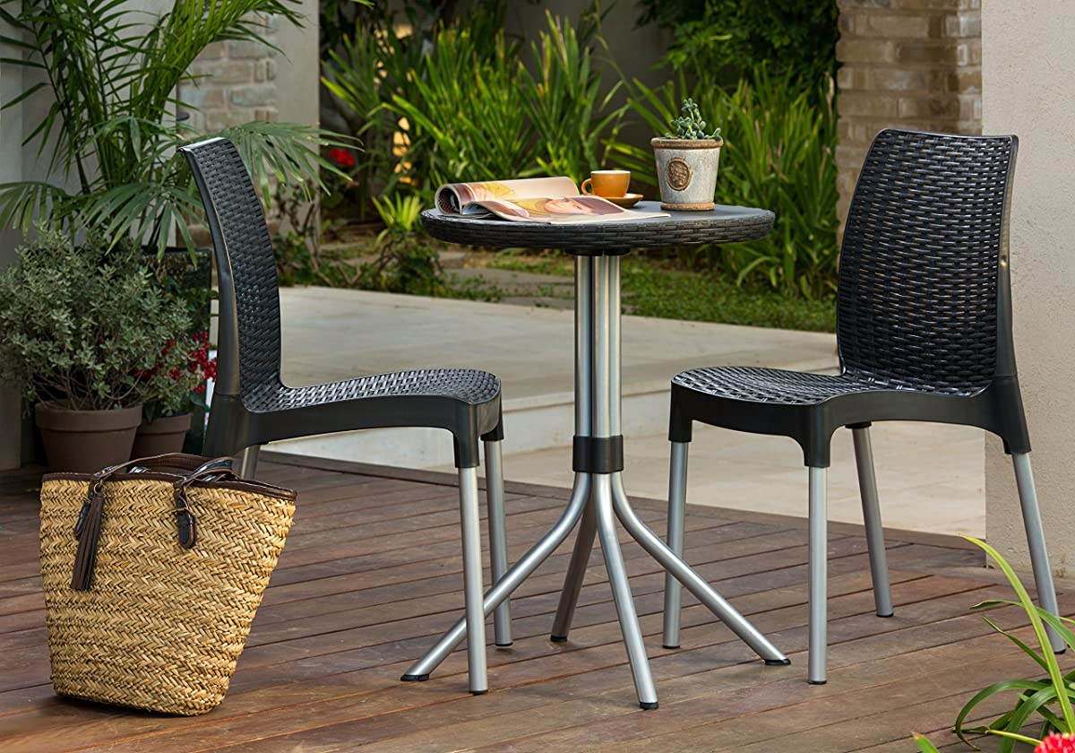Keter Chelsea 3-Piece Resin Outdoor Patio Furniture Dining Bistro Set with Patio Table and Chairs, Charcoal